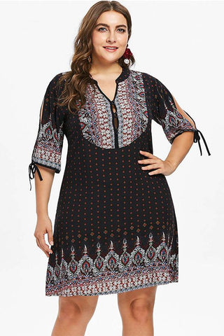 CHICWESTYLE Ethnic Print A-Line Knee Length Plus Size Dress
