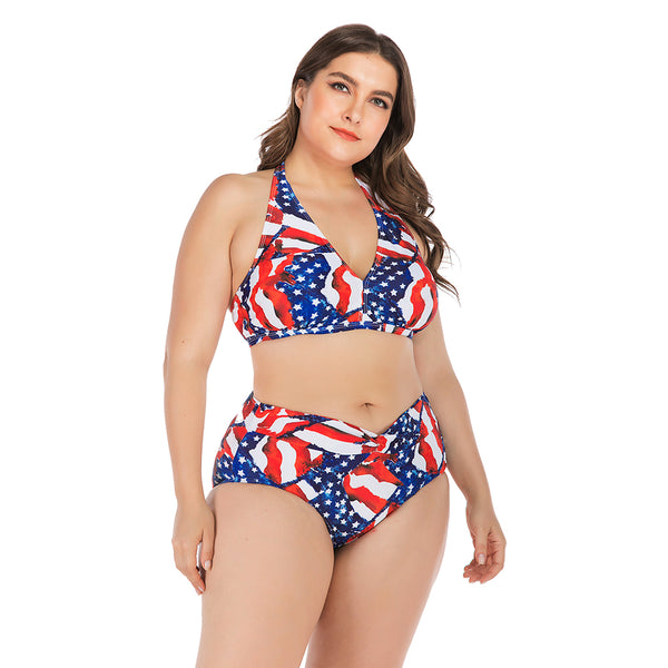 Stars&Stripes Printed Bikini Set Women Swimwear Halter Top Biquini Plus Size Swimsuit Large Big Bathing Suit