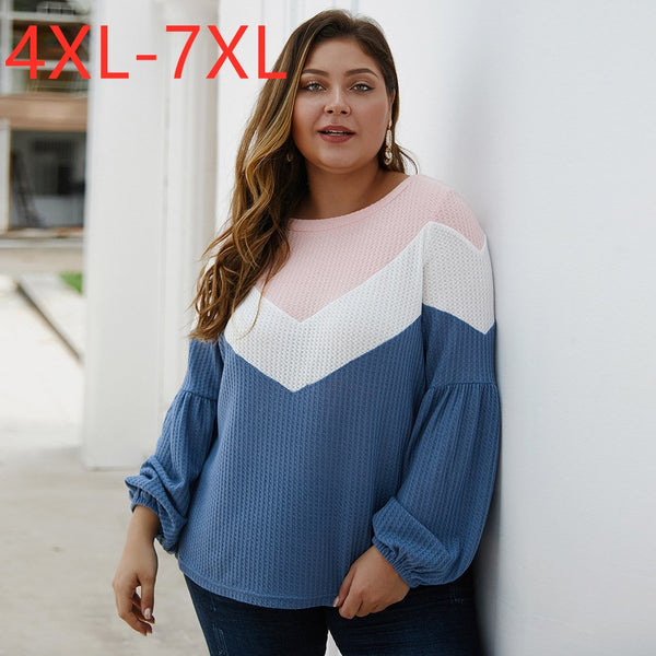 New Ladies Autumn Winter Plus Size Tops for Women Large Long Sleeve Loose Blue T-shirt