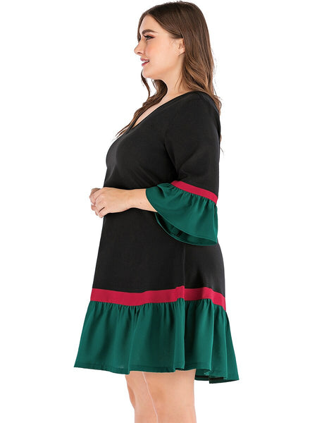 Spring Summer Plus Size Dress for Women Large Three Quarter Sleeve Loose Ruffle Green V Neck Dress