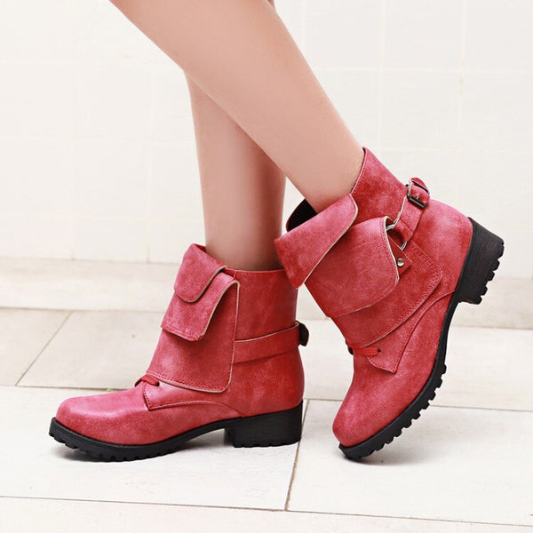 Fashion European Style Black Ankle Boots Flats Round Toe Back Zip Martin Boots PU Leather Woman Shoes