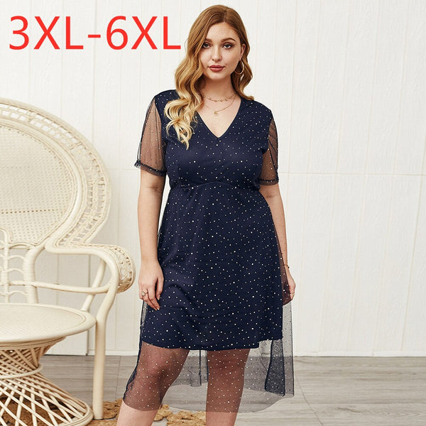 New Summer Plus Size Midi Dress for Women Large Short Sleeve Loose Casual V Neck Gauze Dot Floral Dress Blue