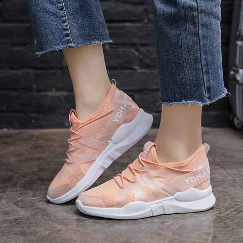Women Shoes Flats Fashion Casual Ladies Shoes  Lace-Up Mesh Breathable Female Sneakers