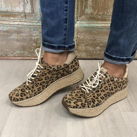 Leopard Women Shoes Lace-Up Casual Thick Bottom  Sneakers Spring Autumn Comfortable Female Shoes
