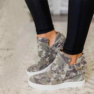 Vulcanized Women's Casual Wedge Spring Autumn Canvas Ladies Buckle Sneakers Female Shoes