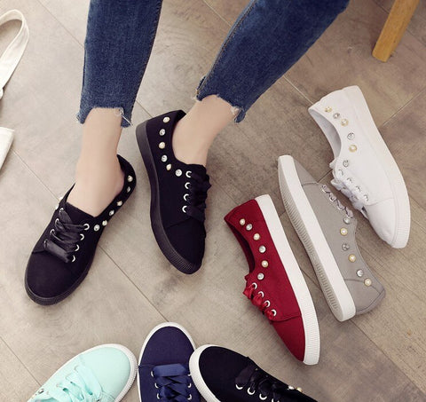 Women Sneakers Canvas Shoes Lace Up Casual Shoes Shoes Crystal Candy Color Breathable Shoes Ladies
