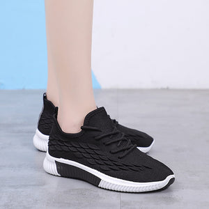 Sneakers Vulcanized  Lace Up Mesh Knitted Shoes Female Low Heels Shoes Soft Sole Ladies Casual Footwear