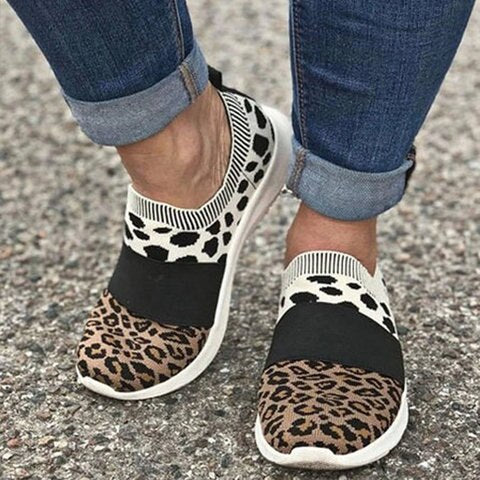 Slip On Leopard PU Leather Non Slip Casual Fashion Women Shoes Female Shallow Platform Ladies Footwear