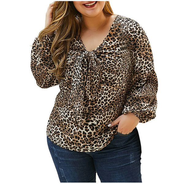 Plus Size Blouses Women Leopard Sexy Deep V Neck Long Sleeve Tunic Top Large Size Loose Blouses Clothes