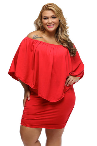 CHICWESTYLE Plus Size Multiple Dressing Layered Red Mini Poncho Dress