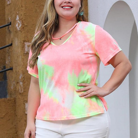 Plus Size Tops Tie Dye Women Summer Short Sleeve Halter V Neck Casual Loose T Shirt