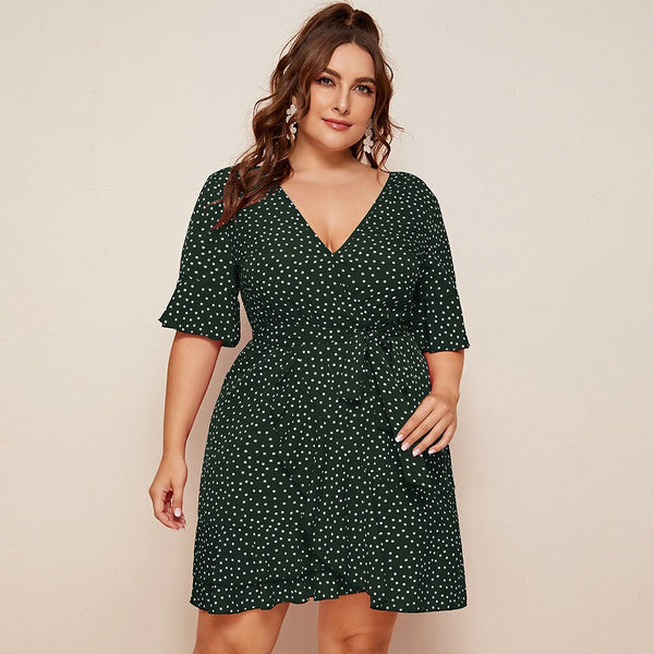 Plus Size Women Polka Dot Short Sleeve Mini Dresses Large Size Ladies Summer Beach Sundress Casual V Neck