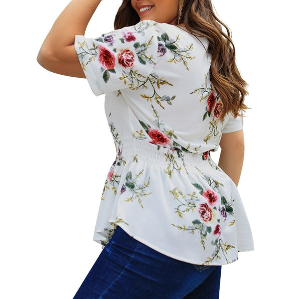 Plus Size Womens Tops and Blouses Summer Floral Print V Neck Blouse Women Fashion Clothing