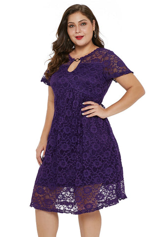 Z| CHICWESTYLE Purple Plus Size Lace Trapeze Babydoll Mini Dress