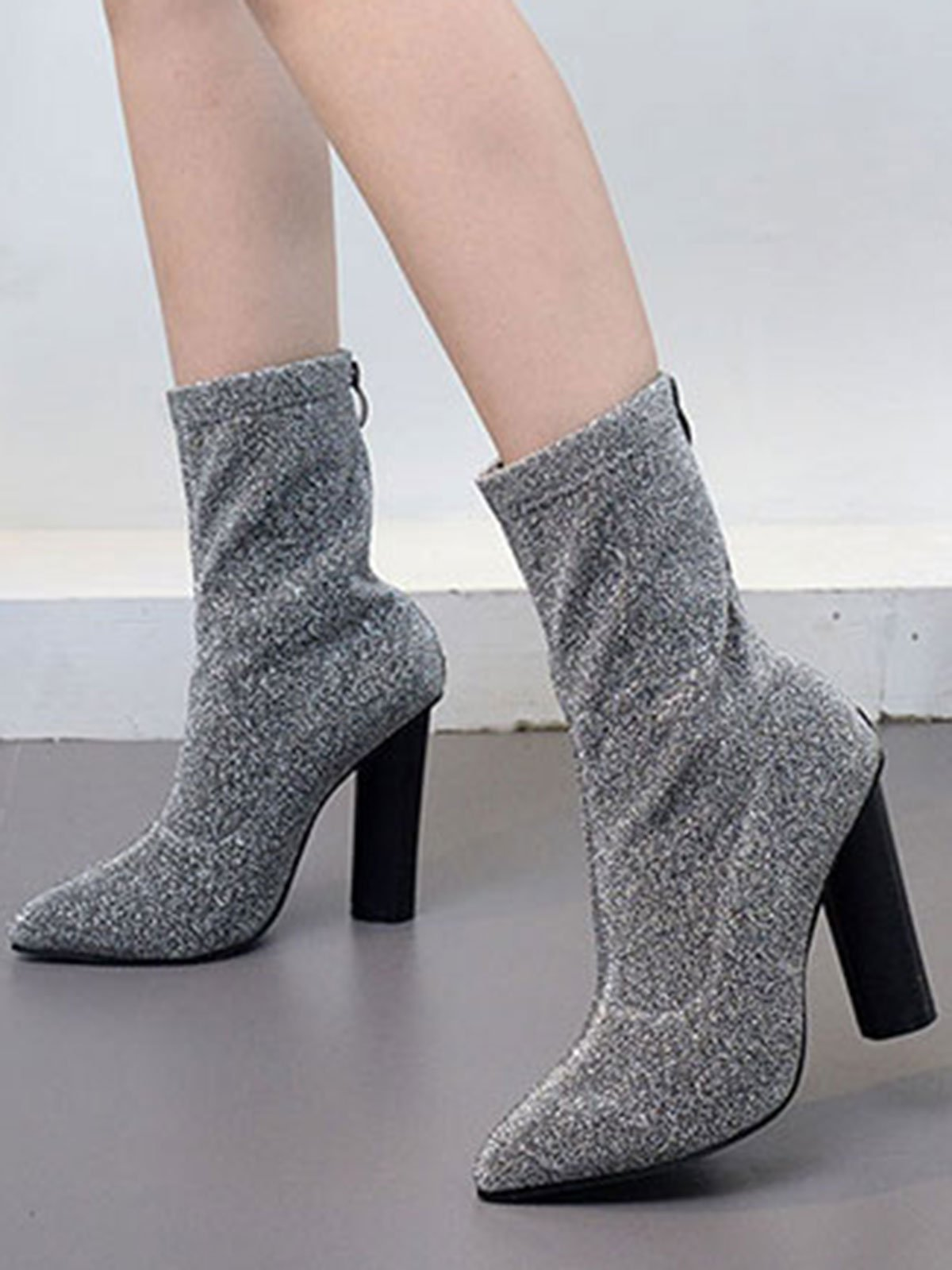 Solid Color Sequins Point Toe Chunky Heel Boots