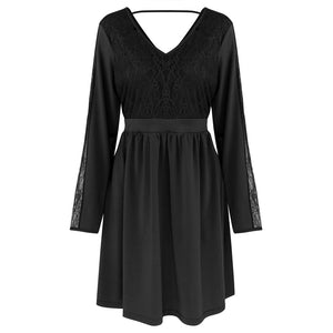 Lace Vestidos V Neck Summer Elegant Swing Dress Women Stitching Lace Dress Mini Party Sexy Dresses Vintage Femme