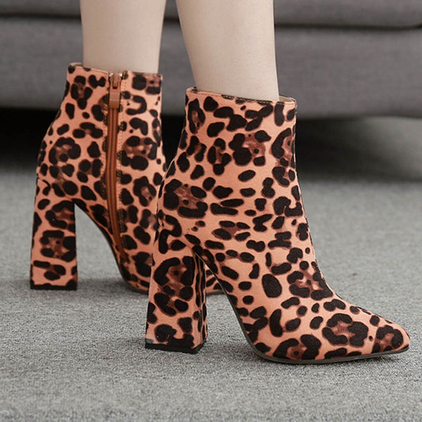 Autumn & Winter Pointed Toe Women Boots Zipper Thick Ankle Boots High Heel Shoes Leopard Boots Party High Heels