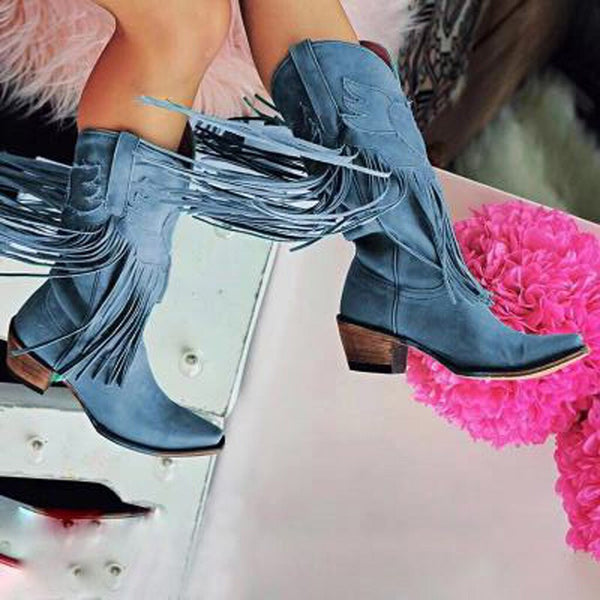 Women Tassel Boots Sexy Pointed Toe Booties Shoes Woman Low-heeled Women Shoes Knight Boots Women