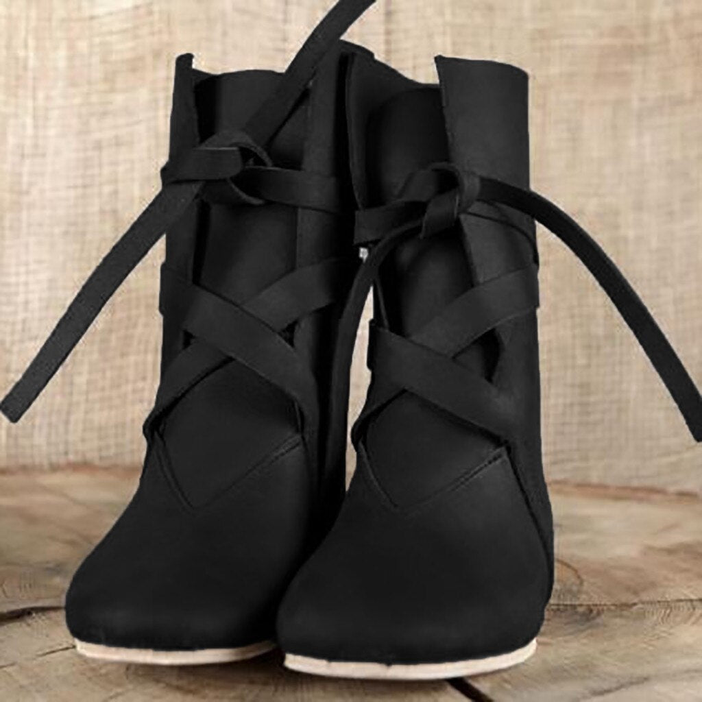 Women's Boots Ladies Stylish Low-heeled Platform Lace-Up Round Toe Knight Mid Boots Female Shoes