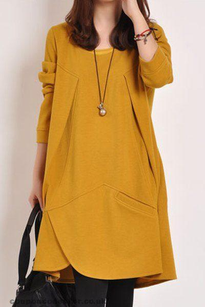CHICWESTYLE Plain Loose Long Sleeve Plus Size Dress