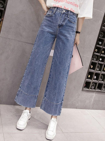 Plain Straight Loose High Waist Jeans