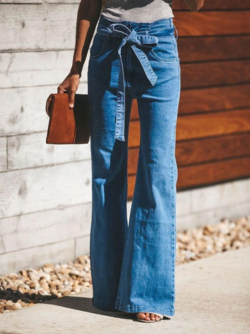 Bowknot Plain Bellbottoms Slim Jeans