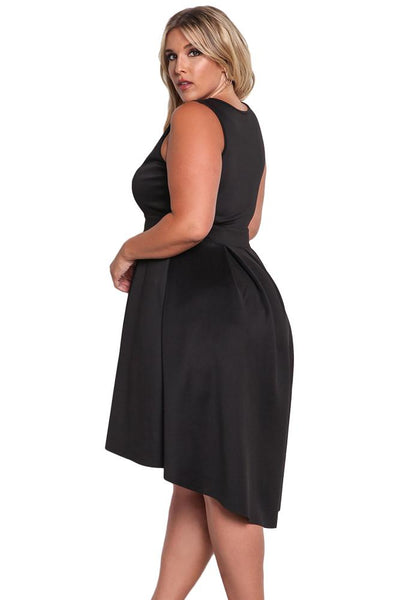 Black Sleeveless V Neck Plus Size Hi-lo Dress