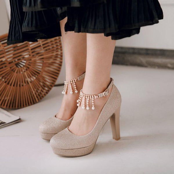 Round Toe Chunky Heel Platform Line-Style Buckle Low-Cut Upper Casual Thin Shoes