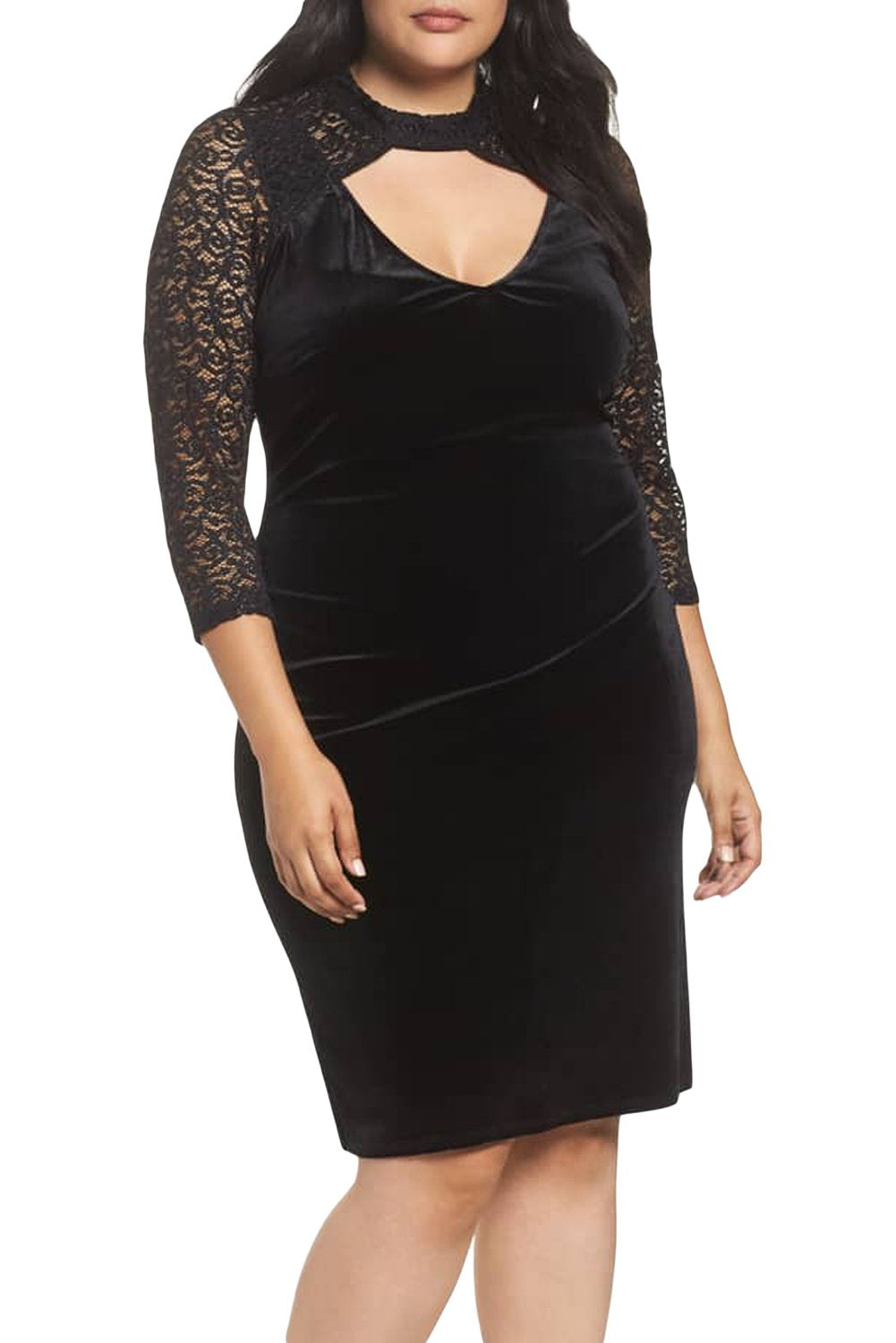 Black Velvet & Glitter Lace Plus Size Sheath Dress