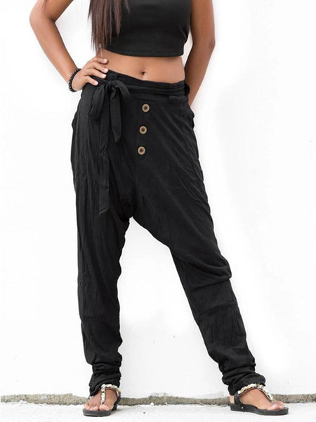 Solid Medium Waist Self-Tied Buttoned Low-Crotch Pants