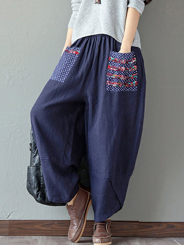 Vintage Printed Patch-Pocket Wide-Legged Adjustable Waist Pants