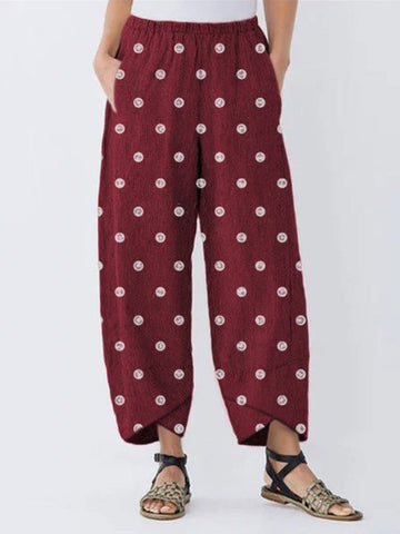 Plus Size Polka Dot Print With Pocket Crop-Length Pants