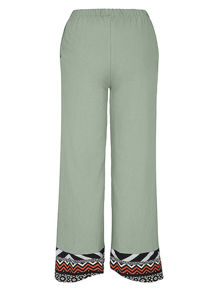 Print Splice Cuff Medium Waist Pants