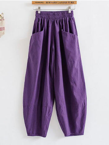 Plus Size Pocket Adjustable Waistband Bloomer Pants