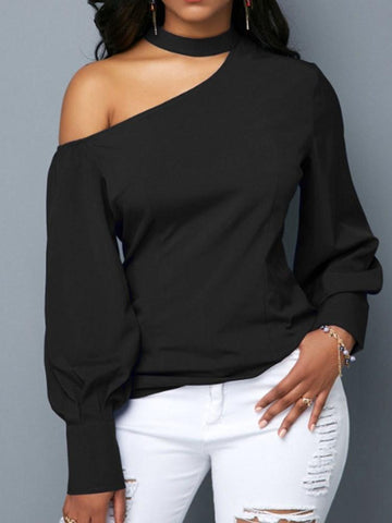 Plain Lantern Sleeve Mid-Length Long Sleeve Blouse