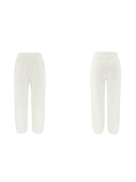 Solid Fleece Medium Waist Solid Casual Pants