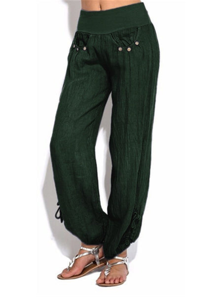 Casual Loose Buttoned Decoration Low Waist Wide-leg Pants