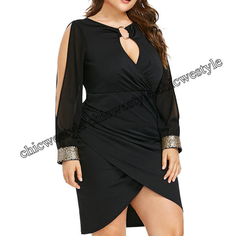 Long Sleeve Sequin Plus Size Keyhole Neck Ring Slit Bodycon Dress Elegant Casual Party Dress