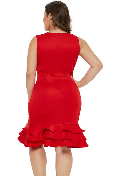 Red V Neck Sleeveless Plus Size Dress