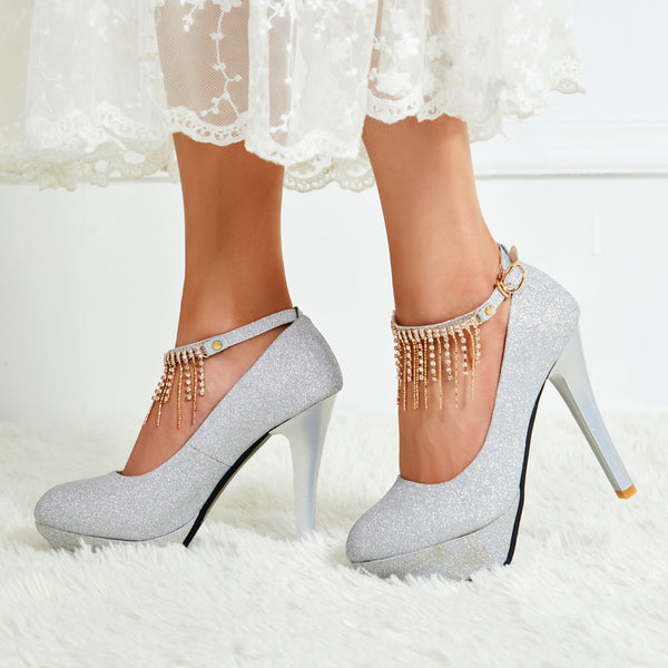 Round Toe Line-Style Buckle Chain Banquet 12cm Thin Shoes