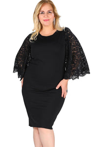 Black Lace Flutter Sleeve Plus Size Bodycon Dress