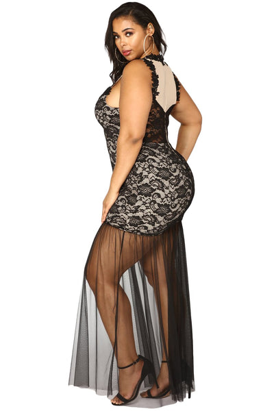 Black Plus Size Lace Maxi Dress with Tulle
