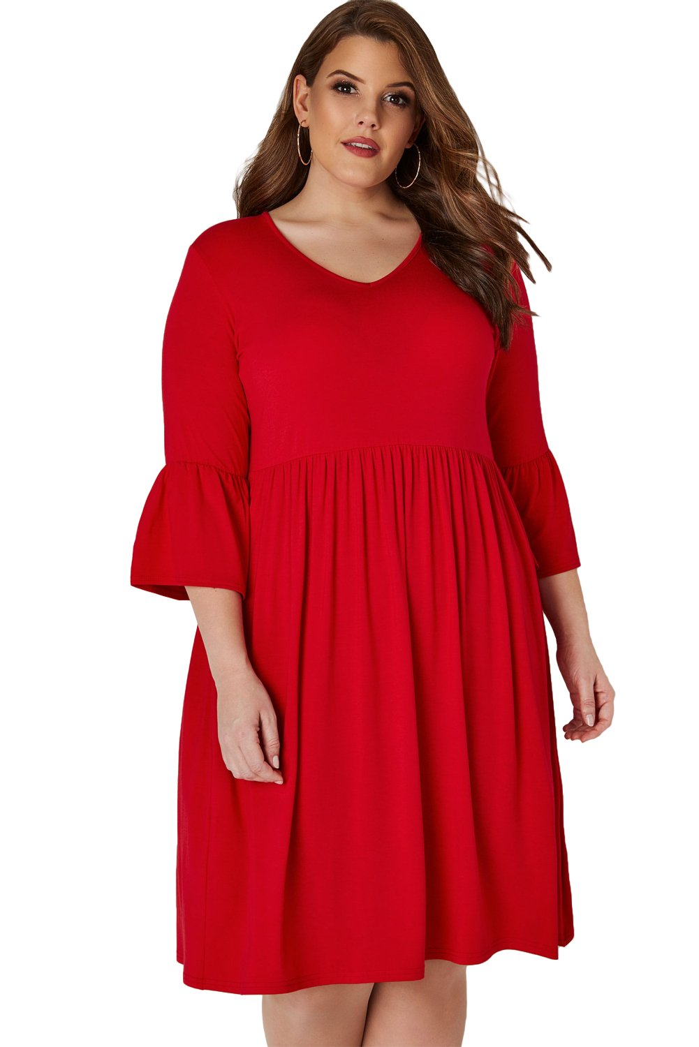 Red Flute Sleeves Plus Size Jersey Dress