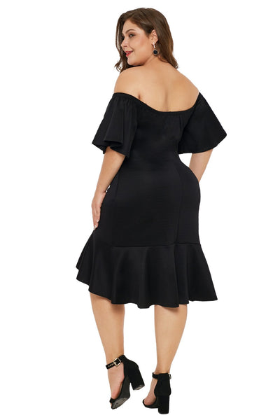 Black Off Shoulder Plus Size Dress with Ruffles