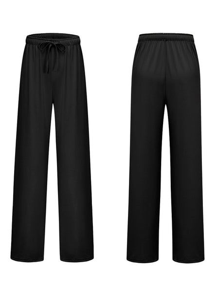 High Rise Waistline Rubber Waistband Solid Wide-Legged Pants