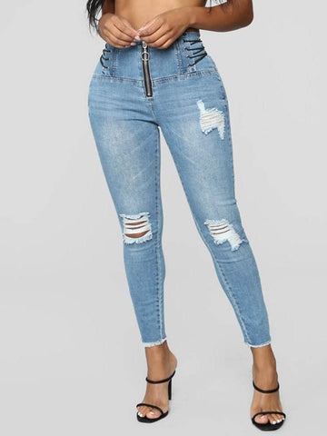 Hole Pencil Pants Plain Zipper High Waist Jeans