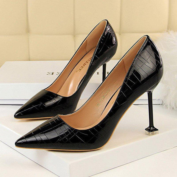 Stiletto Heel Slip-On Pointed Toe Banquet 9.5cm Thin Shoes