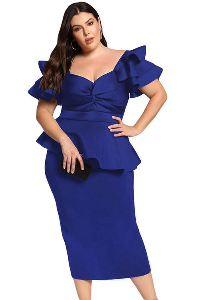 Royal Blue Plus Size Tiered Sleeve Twisted Peplum Dress