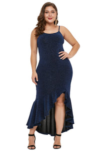 Navy Blue True Shine Plus Size High-low Dress