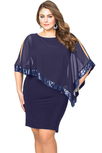 Navy Blue Sequined Mesh Overlay Plus Size Poncho Dress